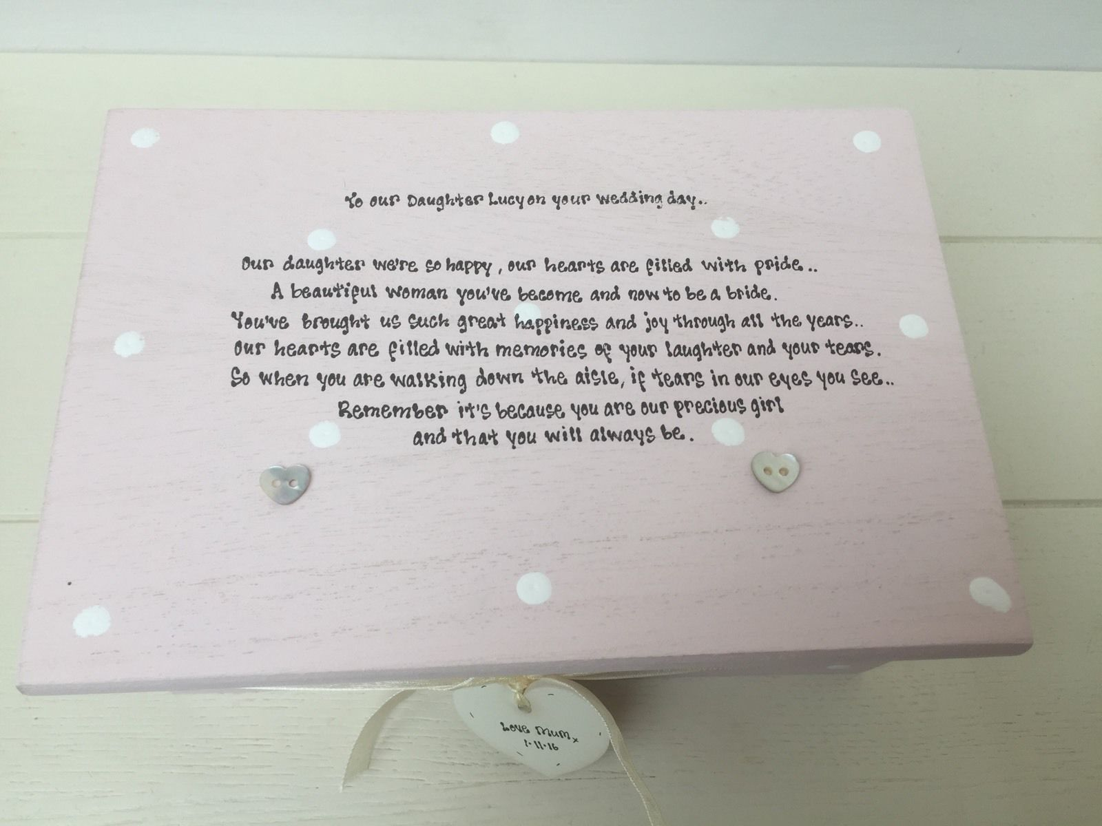 Gifts For Your Daughter On Her Wedding Day: Shabby Personalised Chic Jewellery Box Gift For Daughter